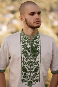 Вышиванка мужская «Древо рода» бежевого цвета