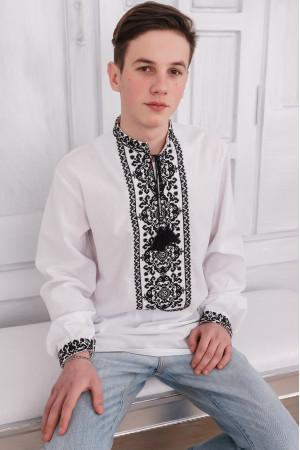 Вышиванка мужская «Роман» белого цвета