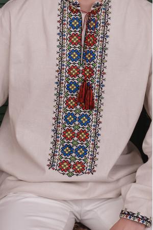 Вышиванка мужская «Угринь» бежевого цвета