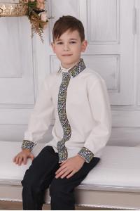 Вышиванка для мальчика «Самуил» молочного цвета