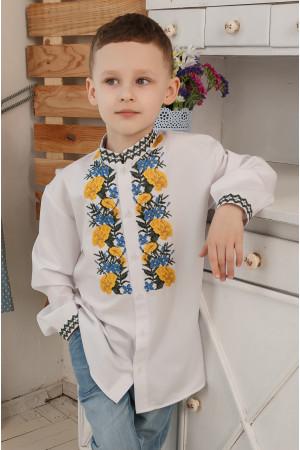 Вишиванка для хлопчика «Чорнобривці» білого кольору