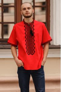 Вышиванка мужская «Степовик» красного цвета