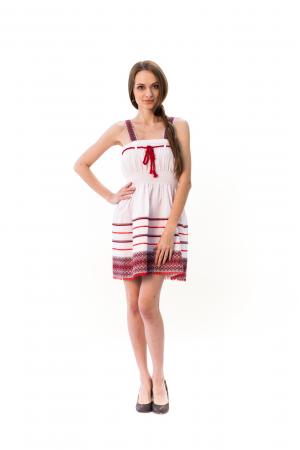 """Сукня """"Морська"""" червоного кольору на бретелях"""