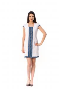 Платье «Шелковая косица» с голубой вышивкой