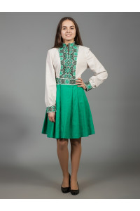 Платье «Изысканная геометрия» зеленого цвета