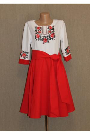 Платье «Розовый венок» красного цвета