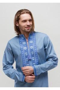 Вышиванка «Орий» голубая с синим орнаментом