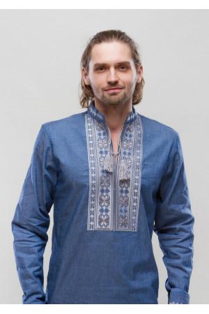 Вышиванка «Орий» голубая с серым орнаментом