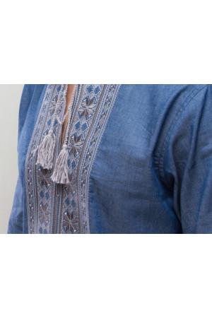 Вишиванка «Орій» блакитна з сірим орнаментом