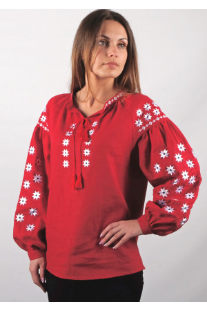 Вышиванка «Заря» красного цвета