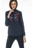 Блуза «Цвіт» темно-синього кольору з червоною вишивкою