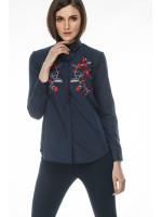 Блуза «Цвет» темно-синего цвета с красной вышивкой