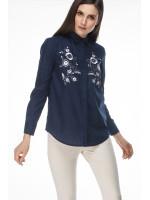 Блуза «Цвет» темно-синего цвета с белой вышивкой