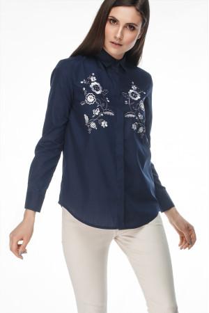 Блуза «Цвіт» темно-синього кольору з білою вишивкою – український ... 51aa31b802606
