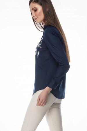 Блуза «Цвіт» темно-синього кольору з білою вишивкою