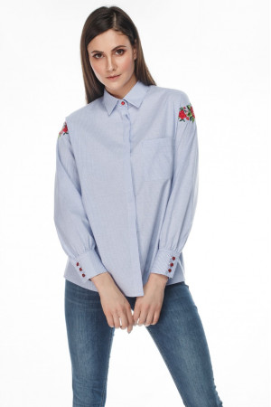 Блуза «Адель» бело-голубого цвета