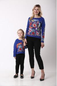 Комплект для мамы и дочки «Сказочный мир» синего цвета