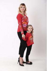 Комплект для матері та доньки «Казковий світ» червоного кольору