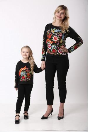 Комплект для матері та доньки «Казковий світ» чорного кольору