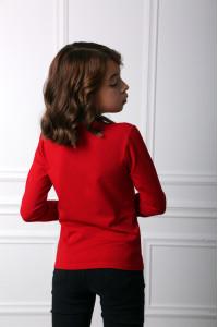 Футболка для дівчинки «Ромашкова геометрія» червоного кольору