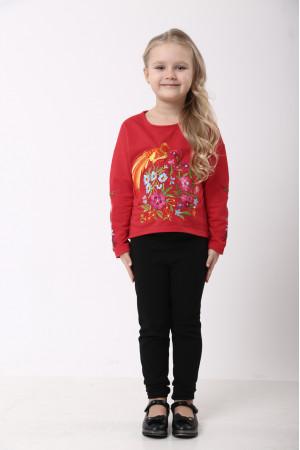 Свитшот для девочки «Сказочный мир» красного цвета