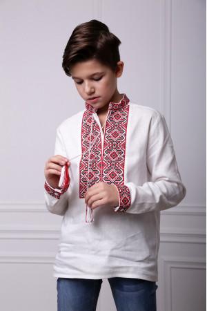 Вишиванка для хлопчика «Лабіринт» білого кольору