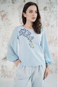 Вишиванка «Квіткова зоря» блакитного кольору