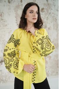 Вышиванка «Кружевные сны» желтого цвета