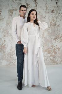 Вышитый комплект для пары «Грация» белого цвета