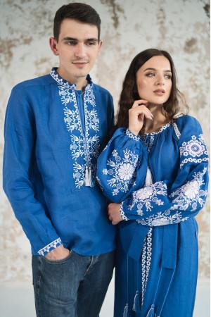 Вышитый комплект для пары «Фантазия» синего цвета
