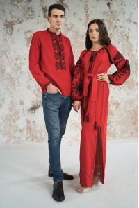 Вишитий комплект для пари «Фантазія» червоного кольору