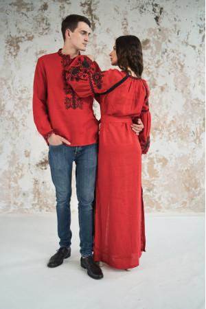 Вышитый комплект для пары «Фантазия» красного цвета