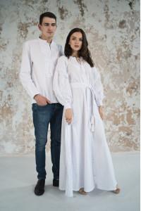 Вишитий комплект для пари «Фантазія» білого кольору