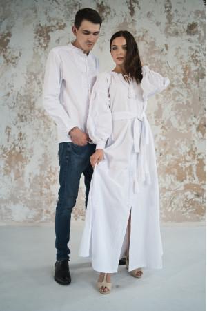 Вышитый комплект для пары «Фантазия» белого цвета