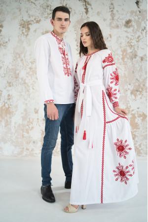 Вишитий комплект для пари «Фантазія» з червоним орнаментом