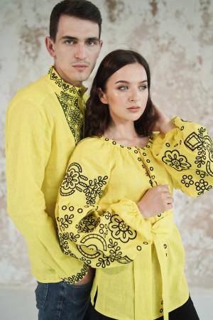Вышитый комплект для пары «Кружевные сны» желтого цвета
