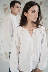 Вишитий комплект для пари «Мереживні сни» білого кольору