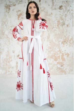 Сукня з клинами «Фантазія» з червоним орнаментом
