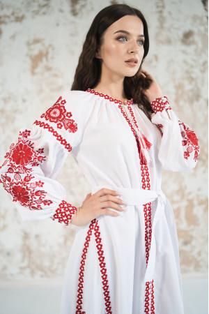 Платье с клиньями «Фантазия» с красным орнаментом