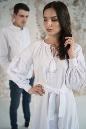 Платье с клиньями «Фантазия» белого цвета