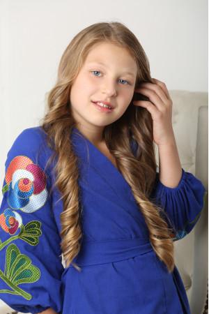 Платье для девочки «Цветочная ветвь» синего цвета
