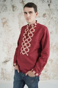 Чоловіча вишиванка «Грація» бордового кольору