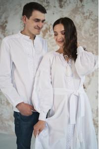 Мужская вышиванка «Фантазия» белая с белым орнаментом