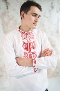 Мужская вышиванка «Фантазия» белая с красным орнаментом