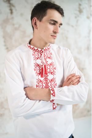 Чоловіча вишиванка «Фантазія» біла з червоним орнаментом