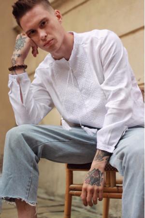 Чоловіча вишиванка «Отаман» біла з білим орнаментом