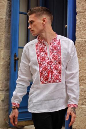 Чоловіча вишиванка «Отаман» біла з червоним орнаментом