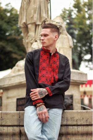 Мужская вышиванка «Атаман» черная с красным орнаментом