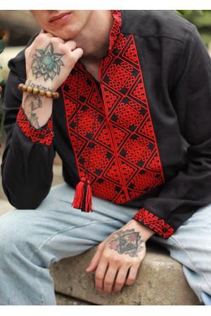 Чоловіча вишиванка «Отаман» чорна з червоним орнаментом