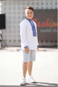 Вишиванка для хлопчика «Полонина» з синім орнаментом